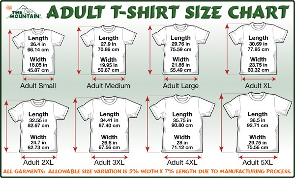 Adult T Shirt Sizes 15