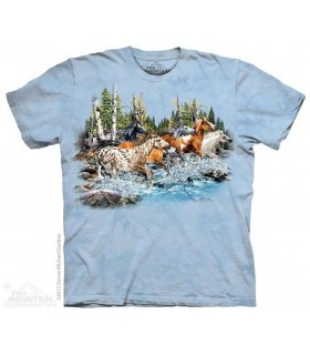 Trouver 20 Chevaux au Galop - T-shirt Cheval The Mountain