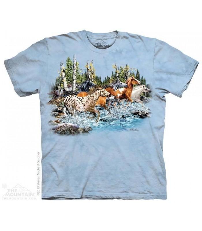 Trouver 20 Chevaux au Galop - T-shirt Cheval The Mountain