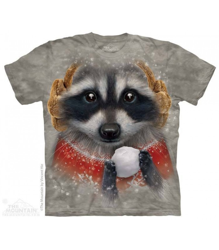 Snowball Raccoon - Animal T Shirt The Mountain