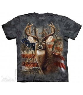 Patriotic Buck - Deer T Shirt The Mountain