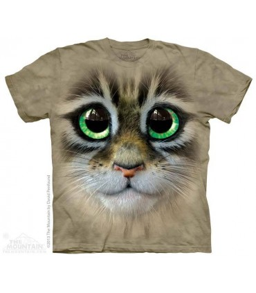 Big Eyes Kitten Face - Cat T Shirt The Mountain