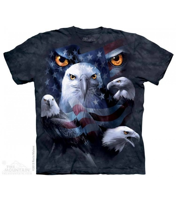 Patriotic Moon Eyes Eagle - USA Flag T Shirt The Mountain
