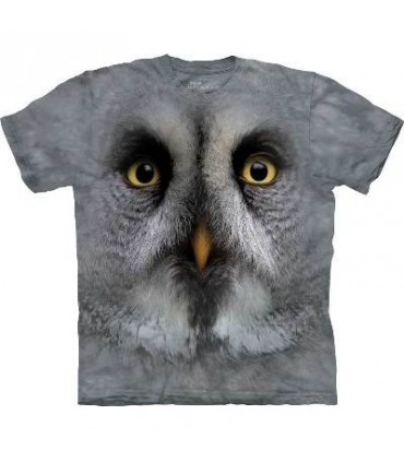 Great Grey Owl Face - Bird T Shirt Mountain