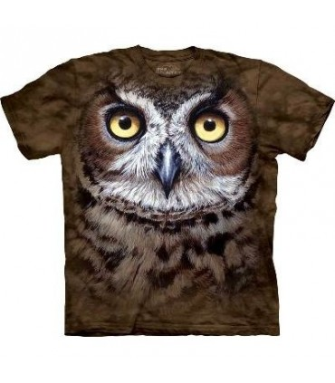 Great Horned Owl Head - Bird T Shirt Mountain