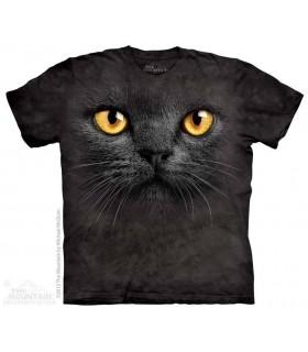Big Face Black Cat - Pet T Shirt The Mountain