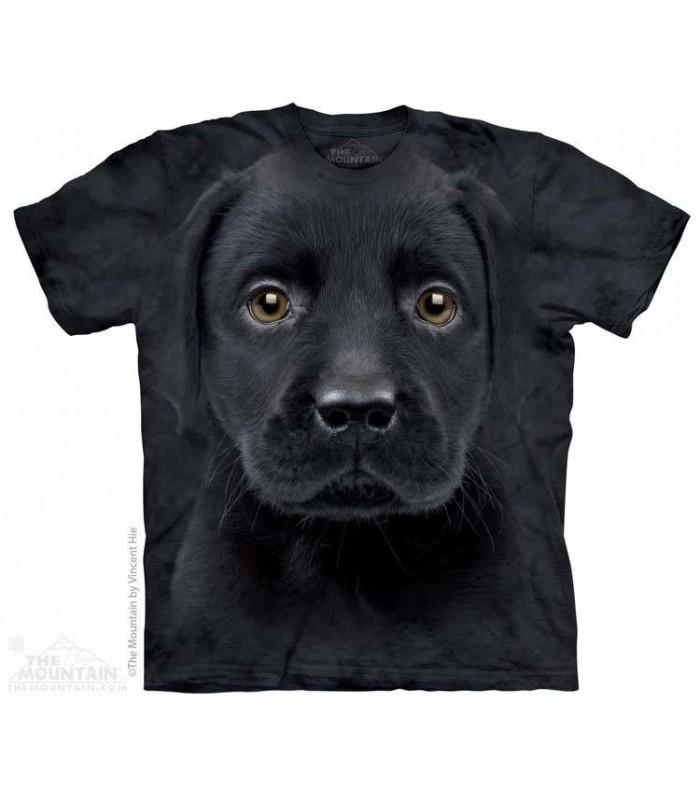 T-shirt tête de chiot Labrador Noir The Mountain