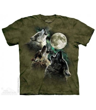 Three Wolf Moon in Olive - Wolves T Shirt The Mountain