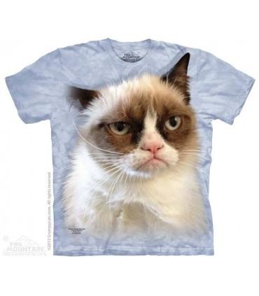 T-shirt Chat Grognon sur bleu par The Mountain