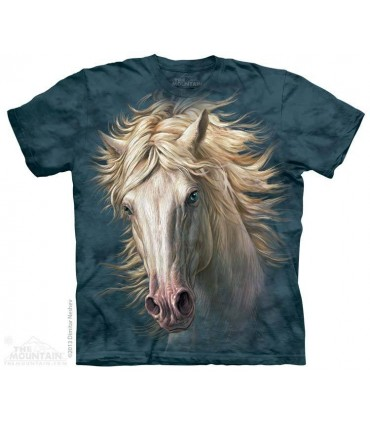 White Horse Portrait - Animal T Shirt The Mountain