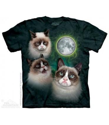 Three Grumpy Cat Moon - Cat T Shirt The Mountain