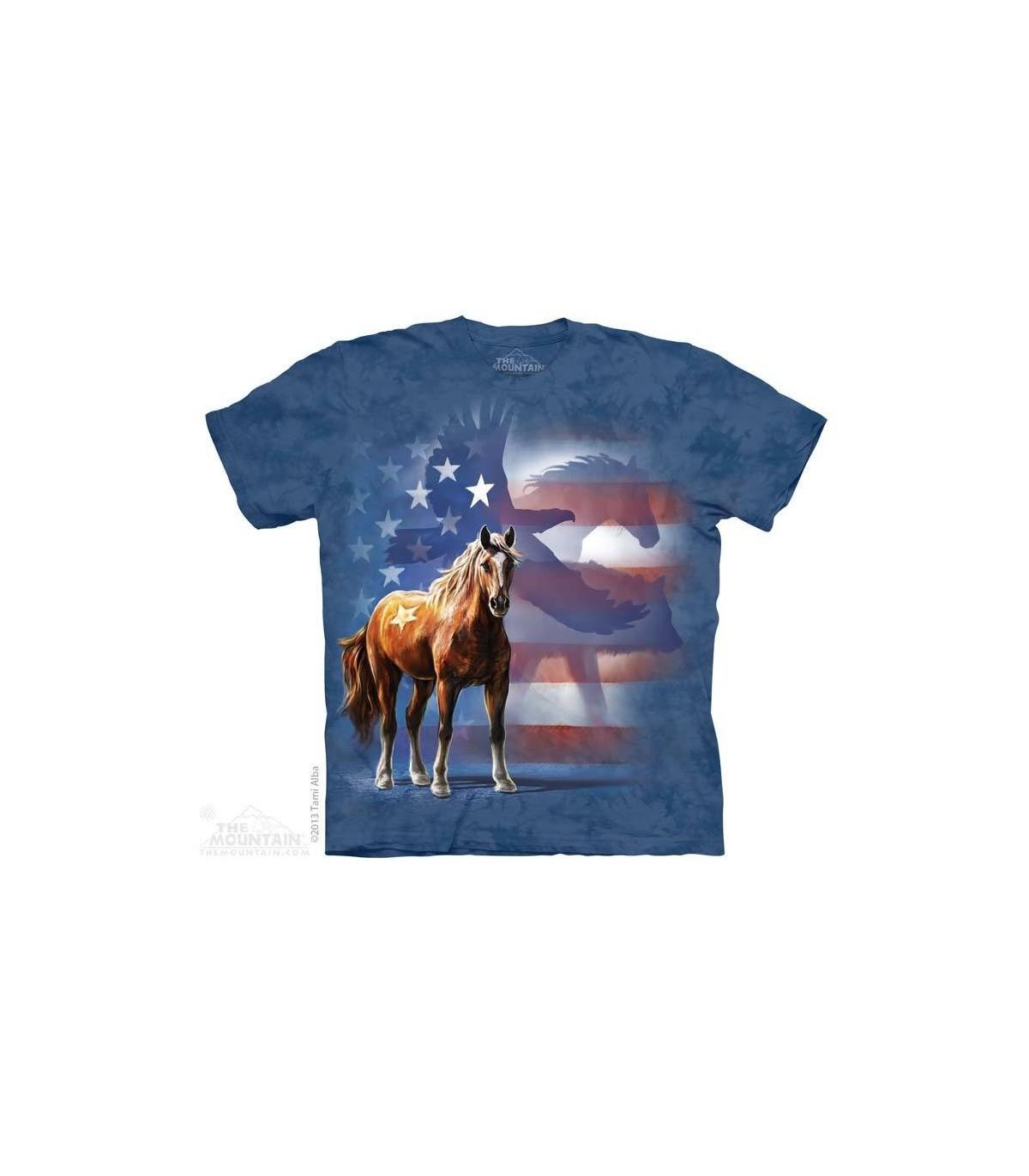 845b16d62a Wild Star Flag - Patriotic Horse T Shirt The Mountain