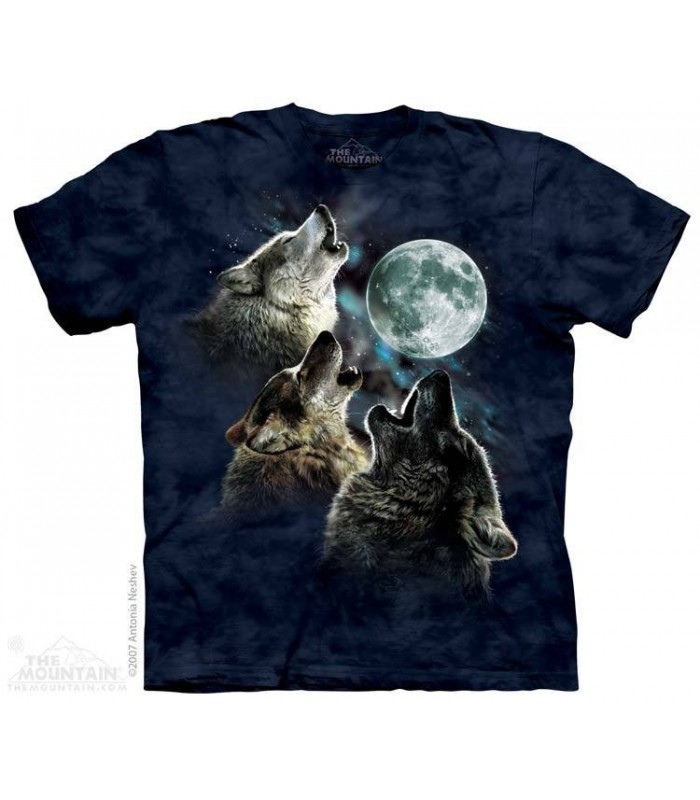 Three Wolf Moon in Blue - Wolves T Shirt The Mountain