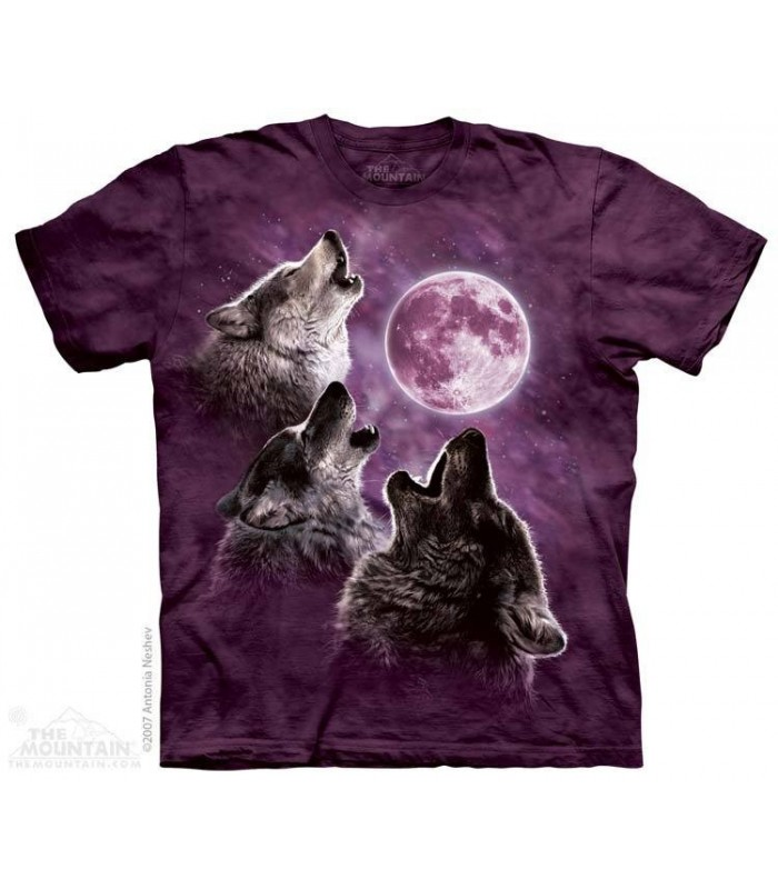 Three Wolf Moon in Purple - Wolves T Shirt The Mountain