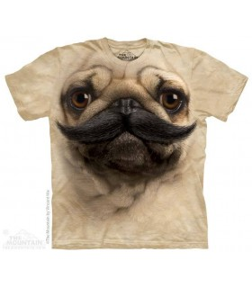 Big Face Pugstache - Humour T Shirt The Mountain