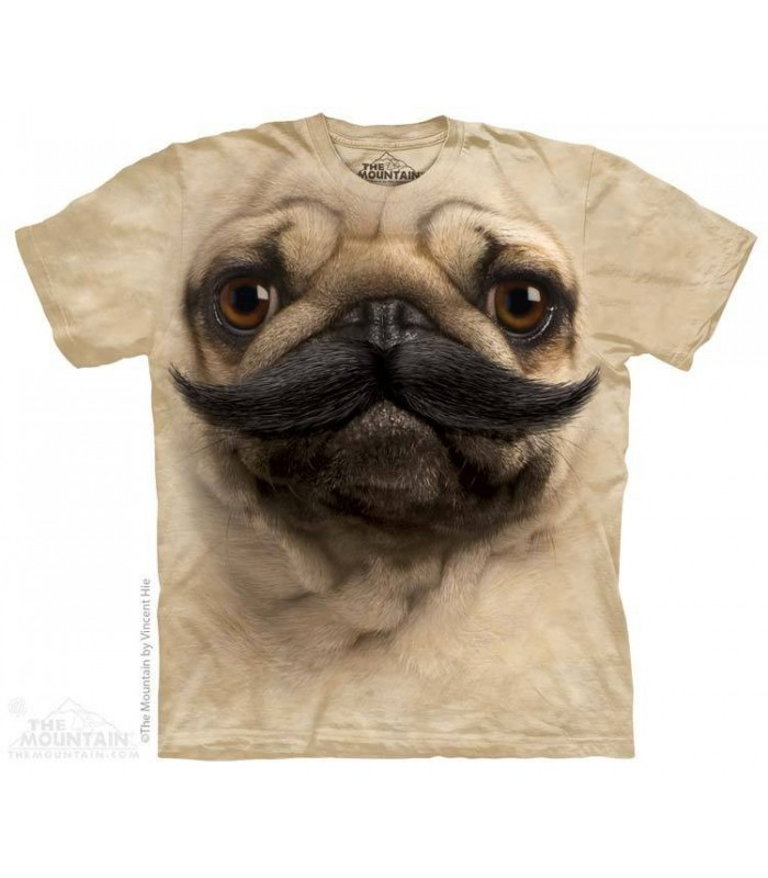 Big Face Pugstache - Humour T Shirt The Mountain