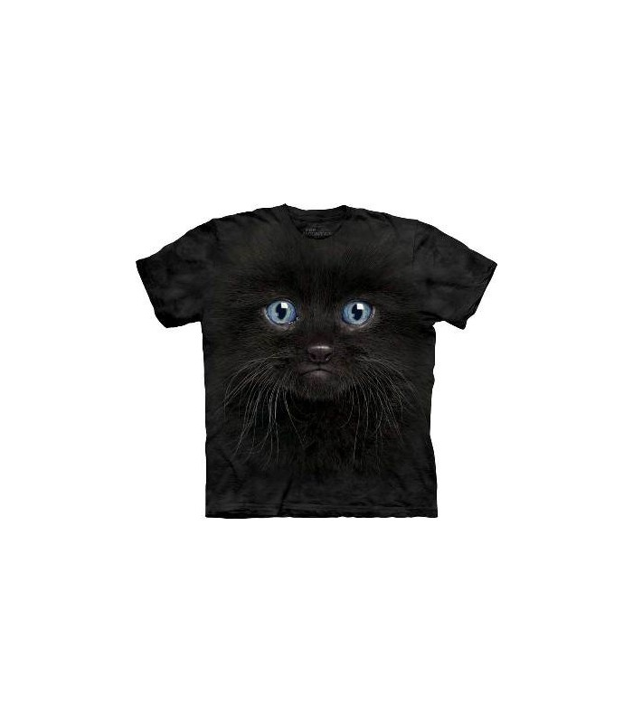 Black Kitten Face - Cats T Shirt by the Mountain