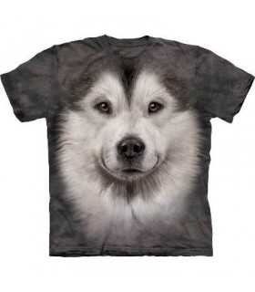 Alaskan Malamute Face - Dogs T Shirt by the Mountain