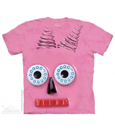 Big Face Pink Robot - Sci Fi T Shirt The Mountain