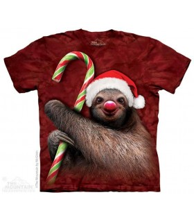Candy Cane Sloth - Christmas T Shirt The Mountain