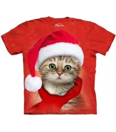 Santa Cat Red - Christmas T Shirt The Mountain