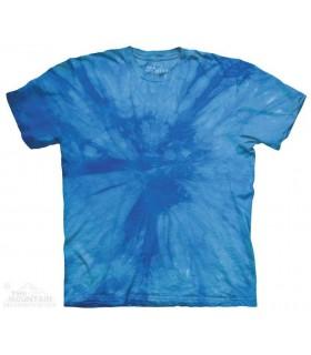 Spirale Bleue - T-shirt Tacheté Dye The Mountain