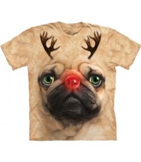 Pug Reindeer - Christmas T Shirt The Mountain