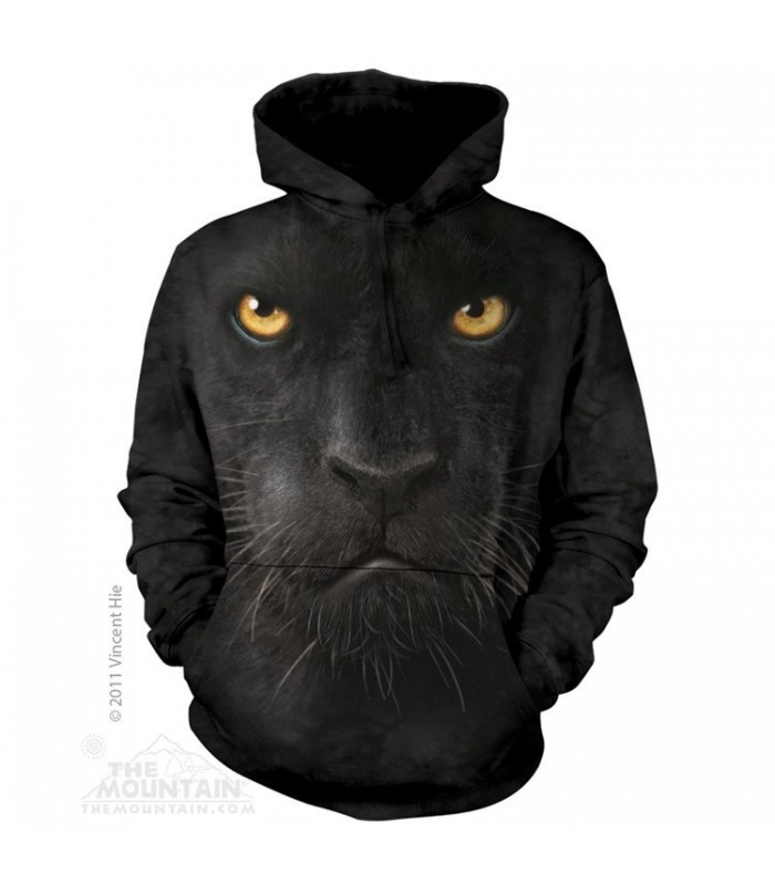 Black Panther Face - Adult Big Cat Hoodie The Mountain