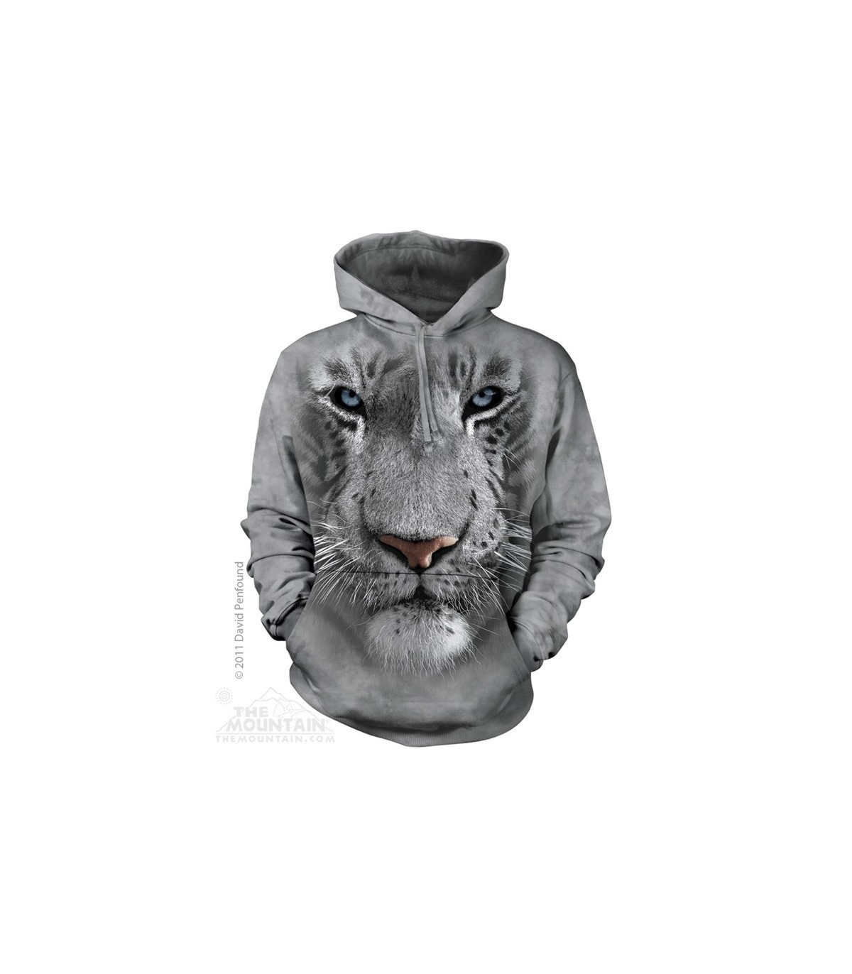 White Tiger Face Adult Big Cat Hoodie the Mountain