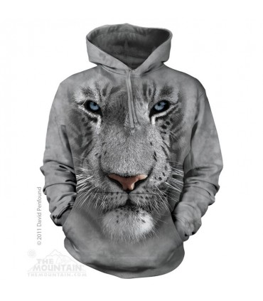 White Tiger Face - Adult Big Cat Hoodie the Mountain