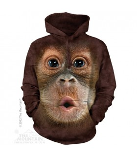 Big Face Baby Orangutan - Adult Primate Hoodie The Mountain