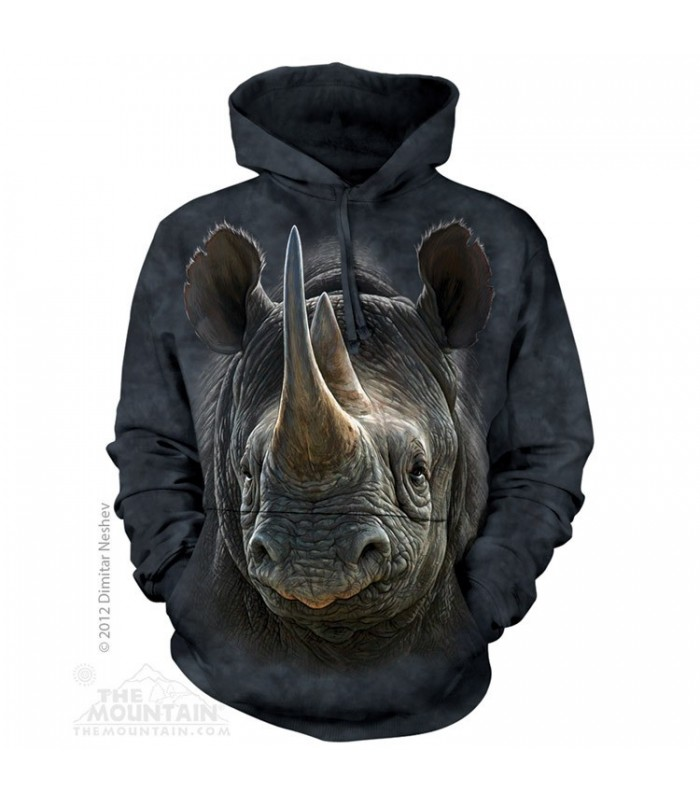 Black Rhino - Adult Animal Hoodie The Mountain