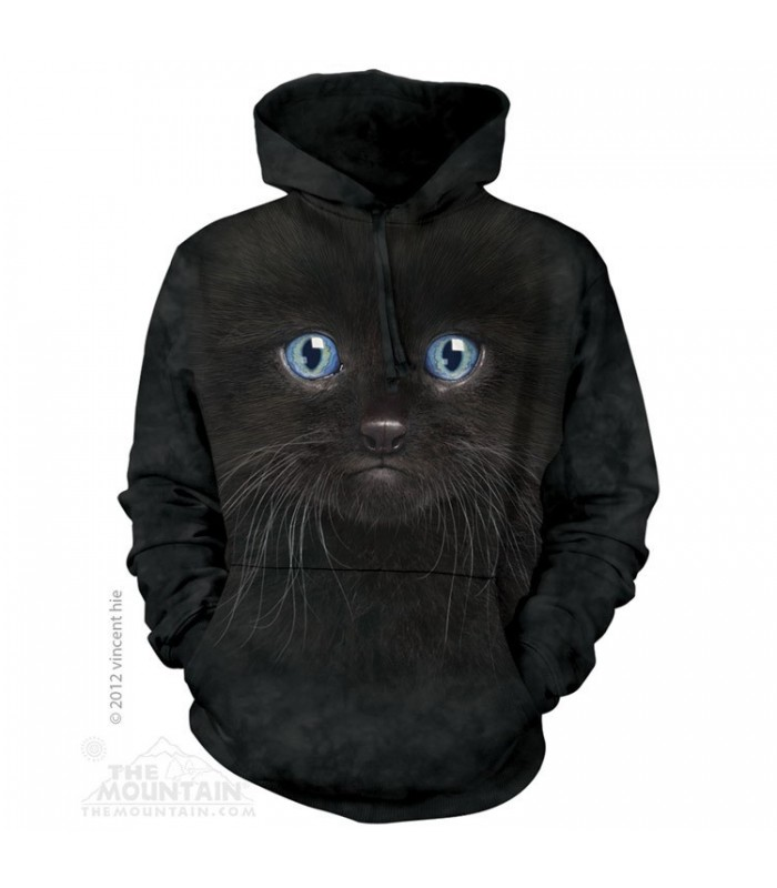 Black Kitten Face - Adult Cat Hoodie The Mountain