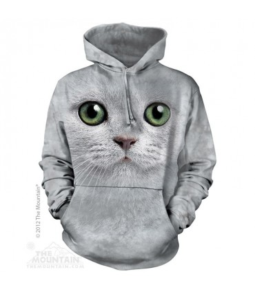 Green Eyes Face - Adult Cat Hoodie The Mountain