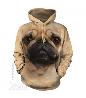 Pug Face - Adult Dog Hoodie The Mountain