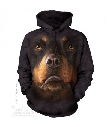 Rottweiler Face - Adult Dog Hoodie The Mountain