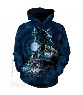 Hurler à la Lune - Sweat shirt Loup à capuche The Mountain