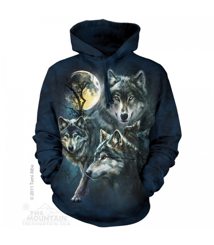Sweat shirt à capuche Groupe de Loups The Mountain