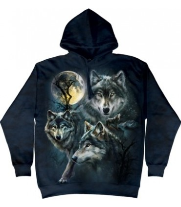 Moon Wolves Collage - Adult Wolf Hoodie the Mountain