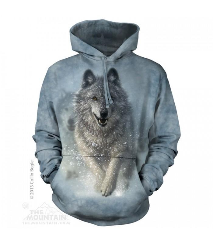 Courir dans la neige - Sweat shirt à capuche Loup The Mountain