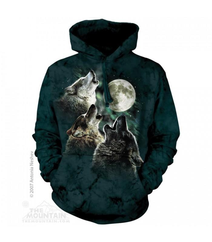 Trois Loups à la lune - Sweat shirt à capuche The Mountain
