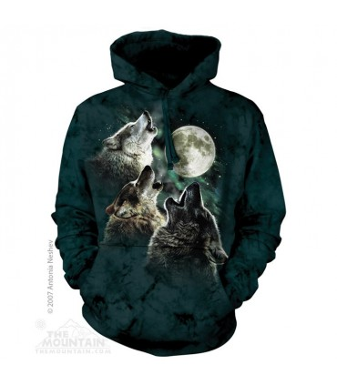 Trois Loups à la lune - Sweat shirt à capuche The Mountain