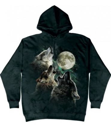 Three Wolf Moon - Adult Wolf Hoodie The Mountain