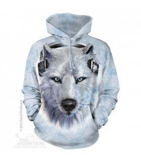 White Wolf DJ - Adult Wolf Hoodie The Mountain