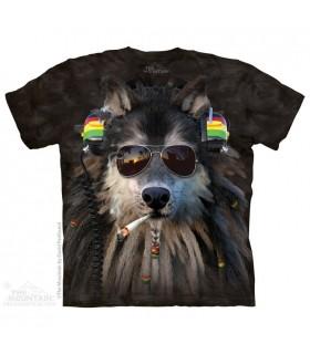 Smoking Rasta Wolf - Animal T Shirt The Mountain
