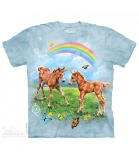 Dueling Unicorn Twins - Fantasy T Shirt The Mountain