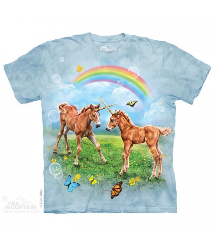 Dueling Unicorn Twins - Fantasy T Shirt The Mountain