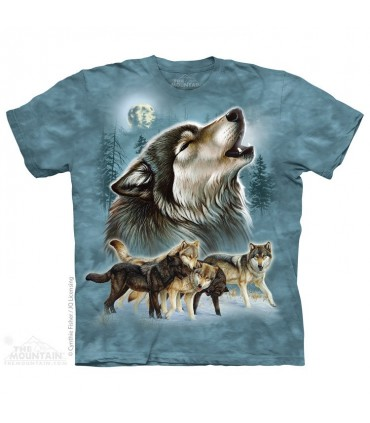 Old School Wolf Collage - Animal T Shirt The Mountain