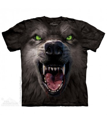 Big Face Attack Wolf - Animal T Shirt The Mountain