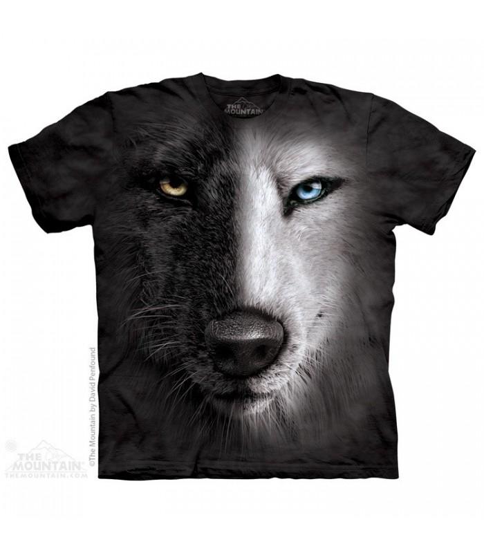 Black & White Wolf Face - Animal T Shirt The Mountain